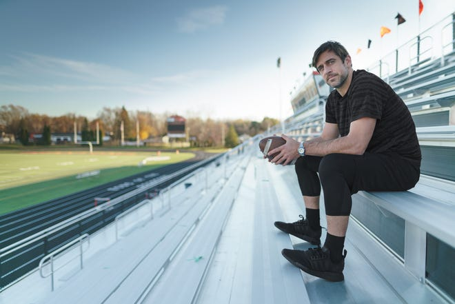 Aaron Rodgers is the new brand ambassador for Swiss luxury watchmaker Zenith. The photo shoot was done at West De Pere High School.