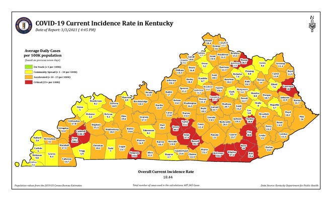 The COVID-19 current incidence rate map for Kentucky as of Wednesday, March 3.