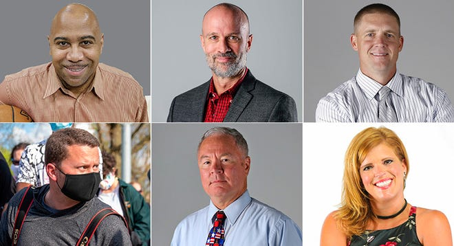 IndyStar staffers (top row, from left): J. Michael, Gregg Doyel, Kyle Neddenriep; (bottom row, from left): Mykal McEldowney, David Woods, Dana Hunsinger Benbow