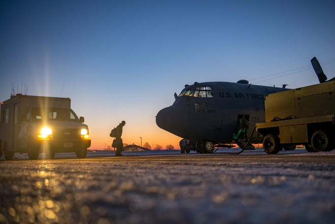 Airmen from the 179th Airlift Wing, Mansfield, Ohio, depart their home station in a C-130H Hercules, on Feb. 21, 2021. 164th Airlift Squadron and 179th Maintenance Group will be flying and maintaining the C-130H aircraft in support of Operation Spartan Shield.