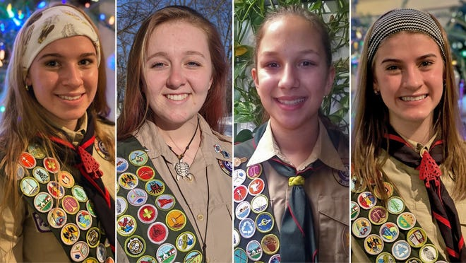 Southeast Wisconsin teens are among the nation's first female Eagle Scouts. They are (left to right) Cassie Scheidt, 17, Racine, Scouts BSA Troop 218; Jaisyn Daher, 18, Caledonia, Scouts BSA Troop 2002; Annastasia Wischki, 14, Port Washington, Scouts BSA Troop 338; AnnieScheidt, 15, Racine, Scouts BSA Troop 218.