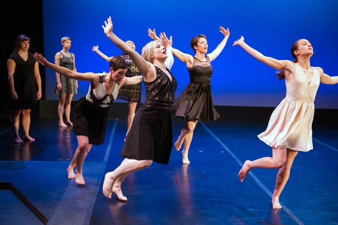"Danceworks Performance MKE members perform Janet Lilly's ""Requiem"" in 2015. Artistic director Dani Kuepper is second from the right."