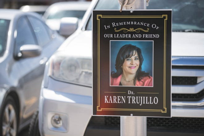 A memorial plaque of Dr. Karen Trujillo hangs at the parking spot for superintendent for Las Cruces Public Schools is pictured at the Las Cruces Public Schools administration building in Las Cruces on Thursday, March 4, 2021.