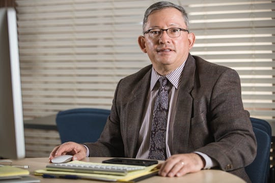 Ralph Ramos, the acting superintendent of Las Cruces Public Schools is pictured in his temporary office in the administration building of Las Cruces Public Schools in Las Cruces on Thursday, March 4, 2021.