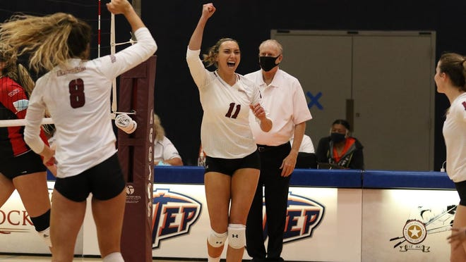 Shaney Lipscomb celebrates a point during New Mexico State's game against Seattle on March 3, 2021, in El Paso, Texas.