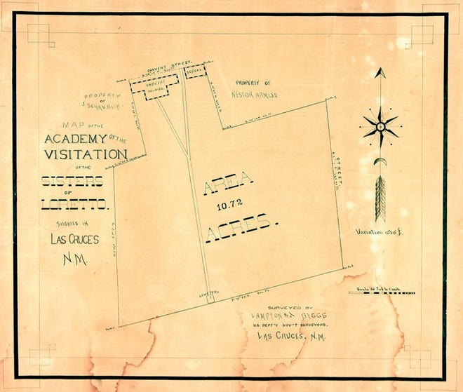 Hand-drawn map of property owned by the Sisters Of Loretto In Las Cruces (Ms0368)