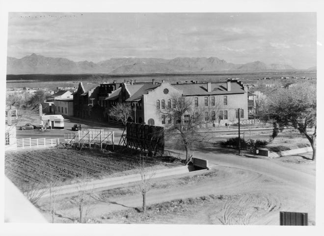 The Loretto Academy with the Nestor Armijo residence in the background in downtown Las Cruces. The Armjio residence is now home to the Greater Las Cruces Chamber of Commerce.