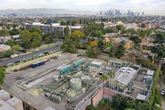 The E&B Natural Resources Murphy Drill Site sits in a densely populated residential neighborhood in Los Angeles on December 8, 2020.