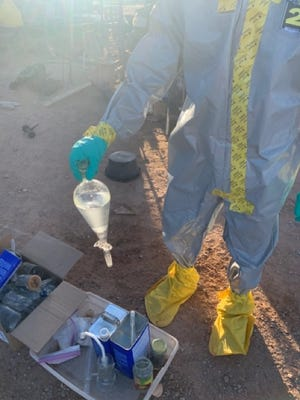 A Tohono O'odham Nation firefighter was one of two arrested in connection with a meth lab operation.