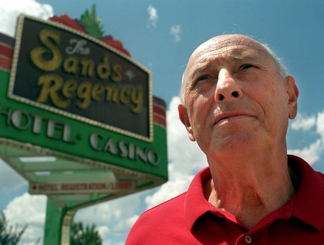 Pete Cladianos Jr. stands outside of the Sands Regency in Reno in 1997.