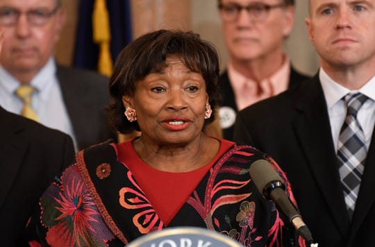 In this Jan. 14, 2020 file photo, New York Senate Majority Leader Andrea Stewart Cousins addresses the media at the state Capitol in Albany.