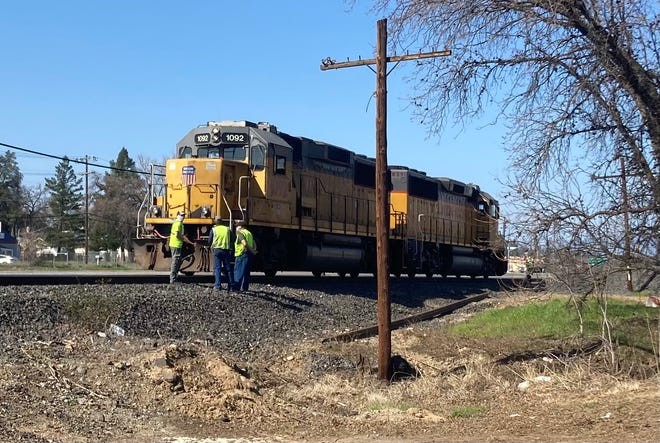 A woman was struck and killed by a Union Pacific locomotive Thursday in south Redding. The train engine came to a stop just north of the Girvan Road crossing.