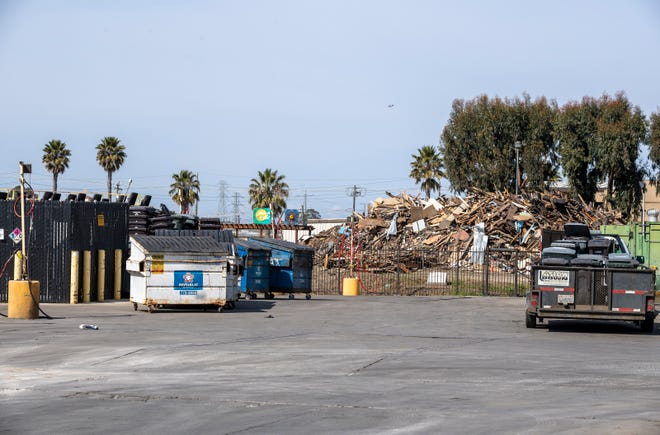 A pile of waste is located inside Republic Services in Salinas, Calif., on Wednesday, March 3, 2021.