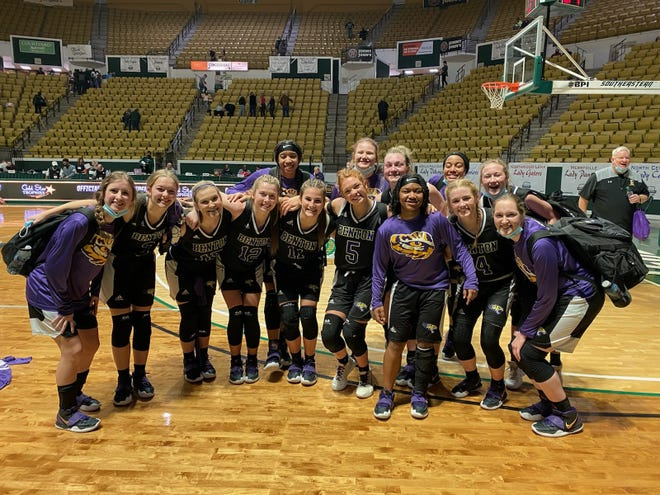 The Benton basketball team celebrates after downing No. 1 Ponchatoula Wednesday night in the LHSAA Class 5A semifinals.