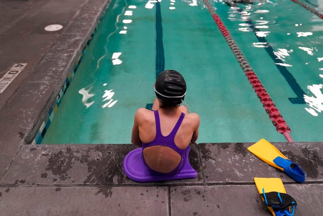 A proposed ban on transgender athletes playing female school sports in Utah would affect transgender girls like this 12-year-old swimmer seen at a pool in Utah. The Texas Legislature is considering a similar measure.