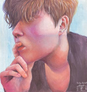 A self-portrait of Jaidyn Brink of Coshocton High School is part of the Playground of Talent exhibit running March 20 to May 9 at the Johnson-Humrickhouse Museum.