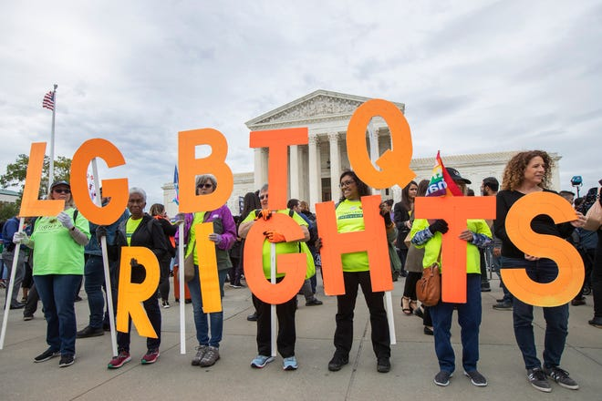 Supporters of LGBTQ rights on Oct. 8, 2019, in Washington, D.C.