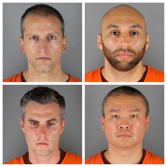 This set of file photos provided by the Hennepin County Sheriff's Office in Minnesota June 3, 2020 shows the top row from left, Derek Chauvin, J. Alexander King, bottom row from the left, Thomas Lane and Tu Thao.  On Thursday, November 5, a judge rejected defense requests to transfer the trial of the four Minneapolis police officers accused of the death of George Floyd, and also ruled that the four will be tried in one session.