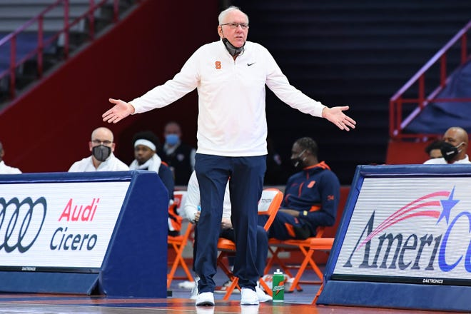 Syracuse head coach Jim Boeheim reacts to a call during the Orange's game against the Clemson Tigers at the Carrier Dome.