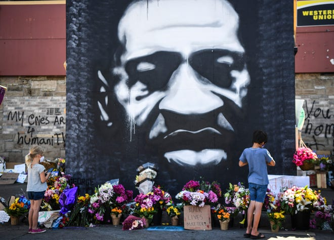 The memorial site where George Floyd died in Minneapolis police custody on May 25, 2020, at 38th Street and Chicago Avenue is seen on Wednesday, June 3, 2020.