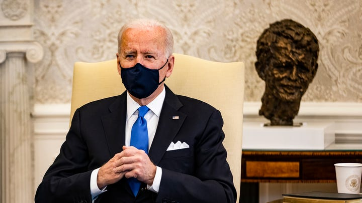President Joe Biden holds a meeting on cancer with Vice President Kamala Harris and other lawmakers in the Oval Office at the White House on March 3, 2021 in Washington, DC.