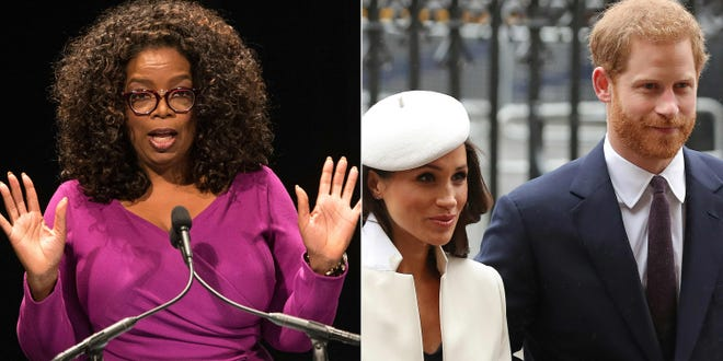 Oprah Winfrey, left, sat down with Prince Harry, right, and Duchess Meghan for an explosive interview that aired Sunday night.