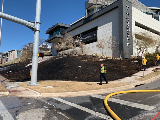 The blaze broke out in the 800 block of Embassy Drive, fire officials said, and was caused by a weed eater.