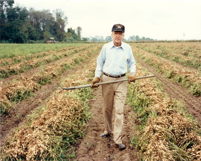 """Known as """"Mr. Peanut,"""" Frank McGill spent the majority of his career working at the University of Georgia Tifton Campus as an Extension peanut specialist. He is pictured here with a high peanut yield in 1974."""