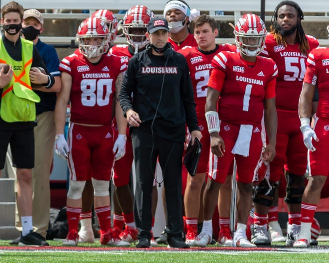 Special Teams Coordinator Robby Discher on the sideline as The Louisiana Ragin Cajuns take down Georgia Southern 20-18 at Cajun Field. Saturday, Sept. 26, 2020.