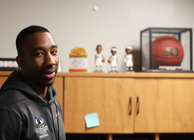 Family ties, impressive career path could help Cleveland State assistant coach Dru Joyce III draw local talent to Vikings. [Mike Cardew/Beacon Journal]