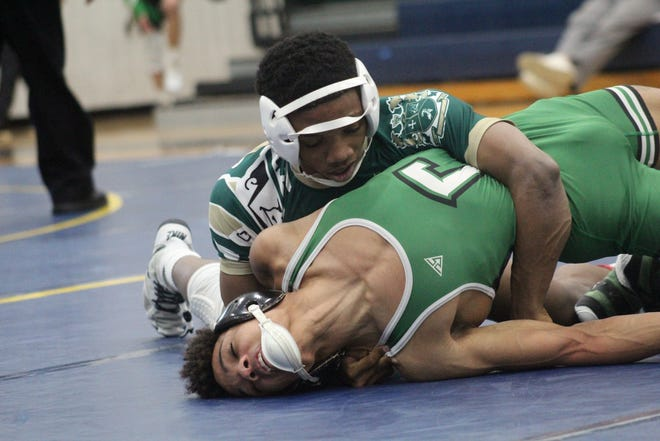 St. Vincent-St. Mary's Kenneth Crosby advanced to the Division II state wrestling tournament at 113 pounds. [Beacon Journal file photo]