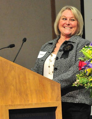 Karen Graves, Store Manager for Miller's Hawkins, speaks after the store won Retail Business of the Year during the 2021 Ashland Area Chamber of Commerce Annual Member Awards at the Ashland University John C. Myers Convocation Center Thursday, March 4, 2021. LIZ A. HOSFELD/FOR TIMES-GAZETTE.COM