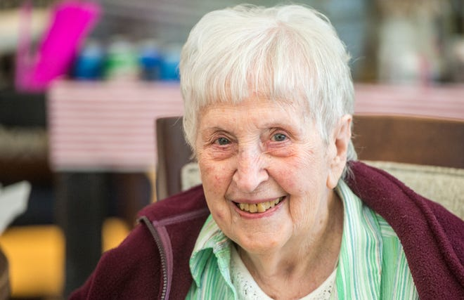 Allie Bee Barrett Sechrest celebrates her 106th birthday Friday afternoon March 5, 2021, with a party at Thrive at Augusta senior living community in Martinez, Ga.