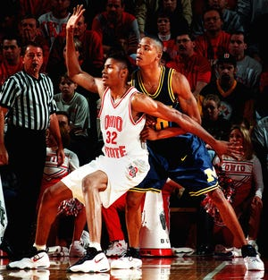 Ken Johnson (32) was a raw sophomore in the 1997-98 season for Ohio State, which suffered through a 17-game losing streak and went 1-15 in the Big Ten.