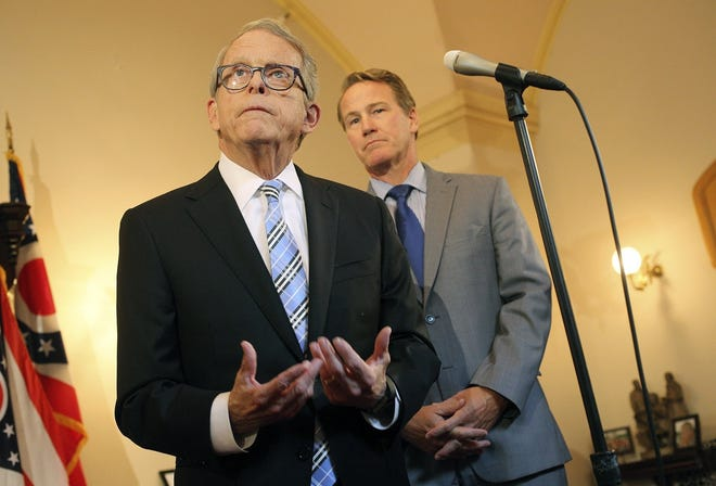 Ohio Gov. Mike DeWine and Lt. Gov. Jon Husted will give an update on Ohio's unemployment insurance system, which went broke in June 2020. Ohio borrowed nearly $1.5 billion from the federal government but plans to pay off the loan using federal funds.