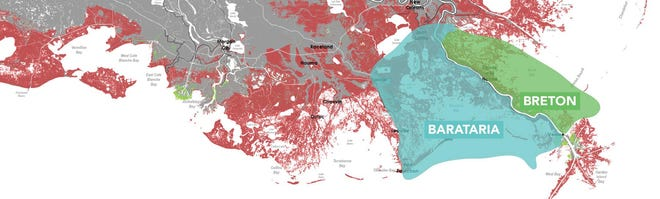A map shows the area that would be impacted by the Mid-Barataria Sediment Diversion and   a separate but similar project to the east in and around Breton Sound.
