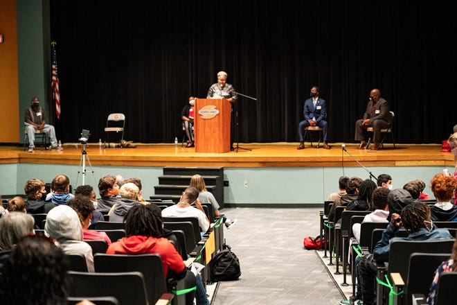 A panel of six African American leaders share their stories with the students at Mount Dora High School on Friday. [Cindy Peterson/Correspondent]