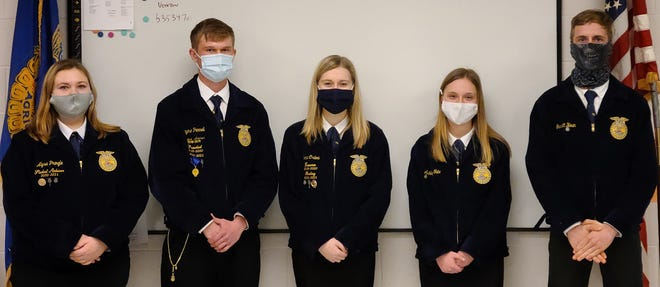 Alysa Pringle (left), Jayme Pennell, Cora Crilow, Ashley Tate and Garrett Houin, members of the West Holmes High School FFA chapter, placed in the district ag sales contest.