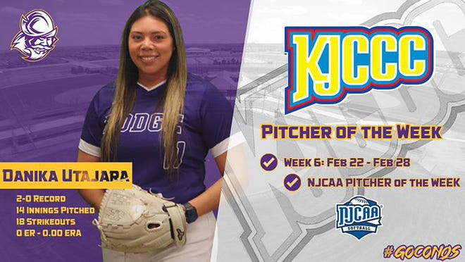 DCCC Freshman Danika Utajara was recognized as the Pitcher of the Week by both the KJCCC and the NJCAA.