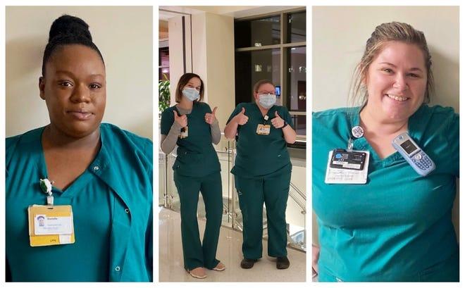 Pictured are Wake Forest Baptist Health RN Apprenticeship participants, from left, Danielle Hosch (LMC), Ashley Gonzalez (DMC), Devin Walker (DMC) and Casey Castrianni (LMC).