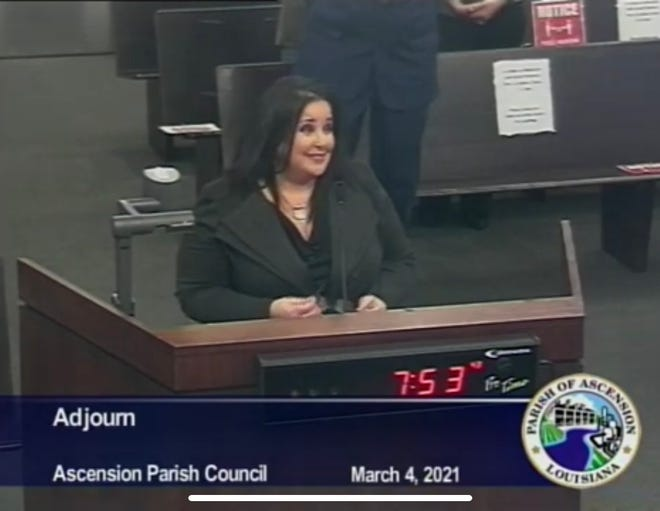 Shanie Bourg addresses the Ascension Parish Council.