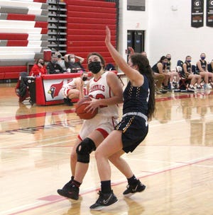 Coldwater's Jayla Foster, shown here in early season action, was key to the Lady Cardinals come from behind overtime victory over Hastings Thursday night