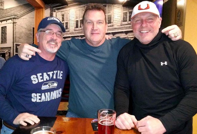 """Three old friends getting together over a beer and a burger at to talk about the """"Glory Days"""" of Scranton Eagle football. Kevin Edwards (WR), Chris Coyne (TE) and John Kennedy (QB)."""