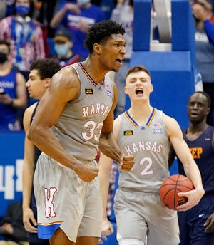 Kansas forward David McCormack (33) celebrates after a score during the second half against the UTEP Miners at Allen Fieldhouse. The Jayhawks rallied from a 15-point deficit for a 67-62 win.