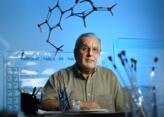 A 2017 photograph of University of North Florida professor Kenneth Laali in his lab.