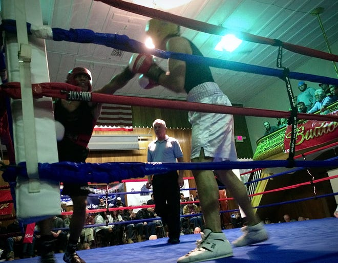 Youthful amateur boxers are seen here during a 2018 Golden Gloves tournament at the Fall River Police Athletic League building.
