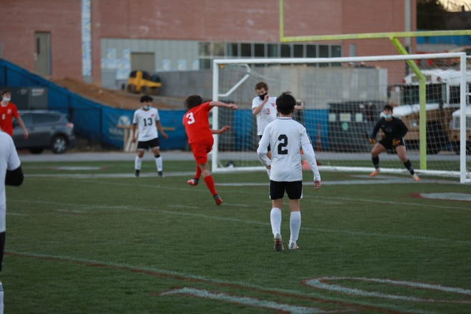 Hendersonville's Levi Hord (3) attempts a shot during Wednesday's home match against Pisgah.