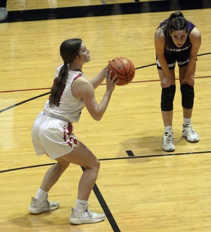 Hesston sophomore Anna Humphreys hit 10 of 13 free throws en route to 17 points in a win Thursday over Southeast of Saline. Hesston faces Halstead at 2 p.m. Saturday in the Class 3A sub-state finals.