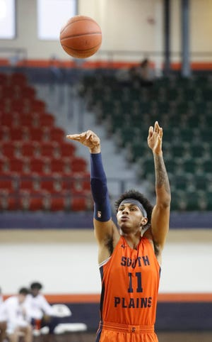 Sophomore swingman Rivaldo Soares (11) is one of five players averaging in double-digit scoring for top-ranked South Plains College. The unbeaten Texans host New Mexico Military Institute on Saturday.