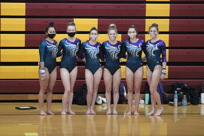 The Monroe United gymnastics team is made up of (left to right) Laila Martin, Chloe Lohmeyer, Hope Younglove, Megan Kane, Morgan MacLeod and Molly Theisen.